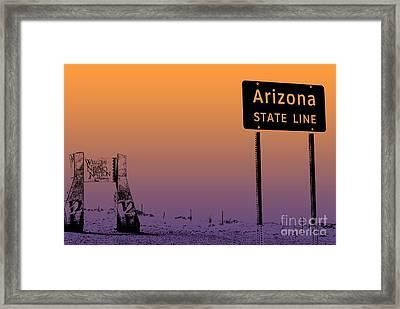 Arizona State Line Usa Framed Print by Janice Rae Pariza