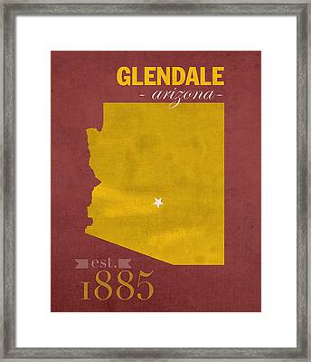 Arizona State University Sun Devils Glendale College Town State Map Poster Series No 012 Framed Print