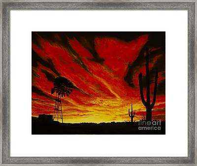 Framed Print featuring the painting Arizona Sunset by Stuart Engel