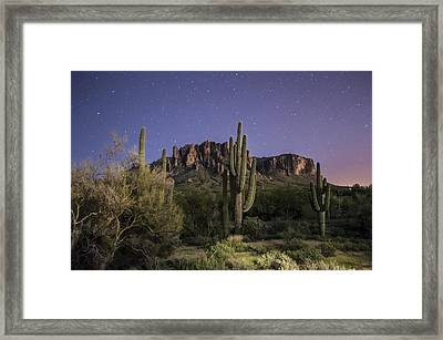 Arizona Superstition Mountains Night Framed Print by Michael J Bauer