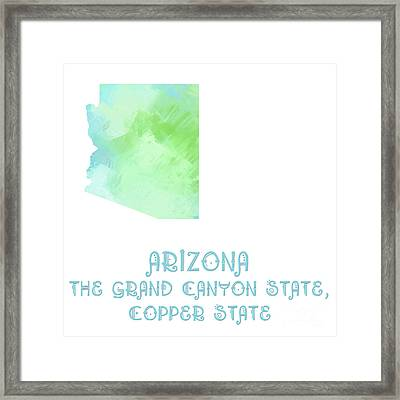 Arizona - The Grand Canyon State - Copper State - Map - State Phrase - Geology Framed Print by Andee Design