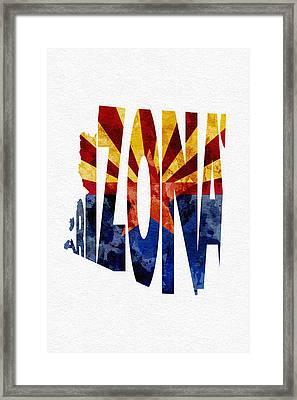 Arizona Typographic Map Flag Framed Print by Ayse Deniz