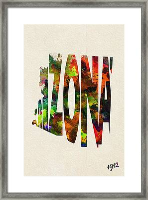 Arizona Typographic Watercolor Map Framed Print by Ayse Deniz