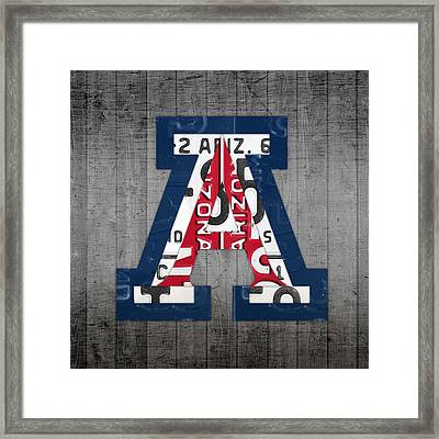 Arizona Wildcats College Sports Team Retro Vintage Recycled License Plate Art Framed Print by Design Turnpike