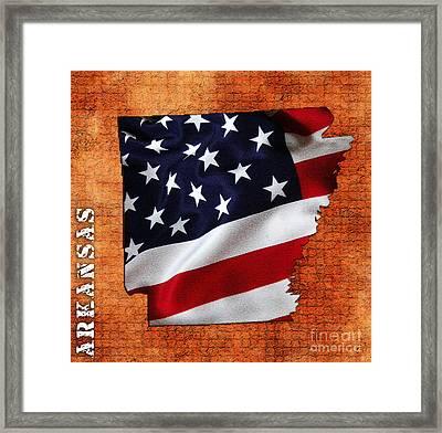 Arkansas American Flag State Map Framed Print