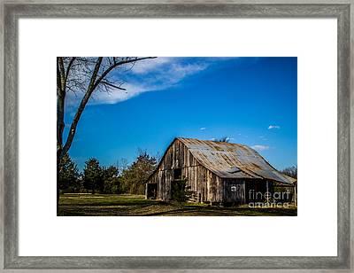 Arkansas Barn And Blue Skies Framed Print by Jim McCain