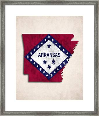 Arkansas Map Art With Flag Design Framed Print by World Art Prints And Designs