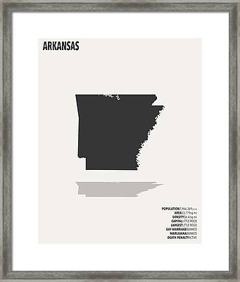 Arkansas Minimalist State Map With Stats Framed Print by Finlay McNevin