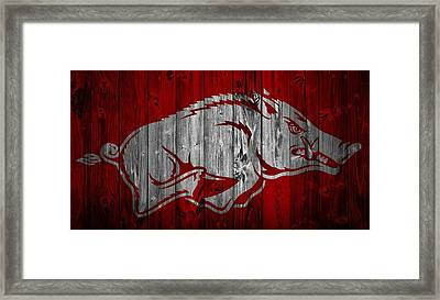 Arkansas Razorbacks Barn Door Framed Print by Dan Sproul