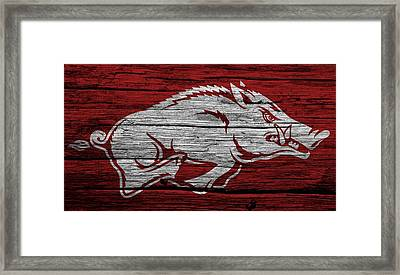 Arkansas Razorbacks On Wood Framed Print