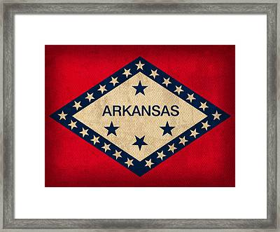 Arkansas State Flag Art On Worn Canvas Framed Print by Design Turnpike