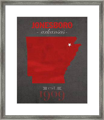 Arkansas State University Red Wolves Jonesboro College Town State Map Poster Series No 014 Framed Print