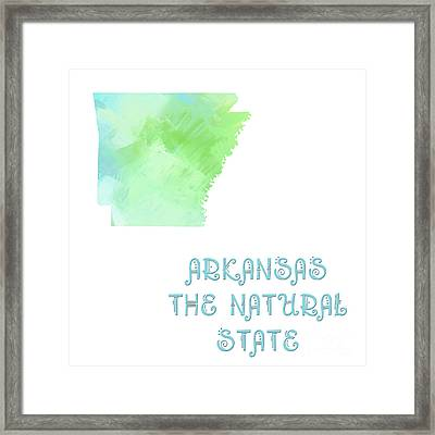 Arkansas - The Natural State - Map - State Phrase - Geology Framed Print by Andee Design