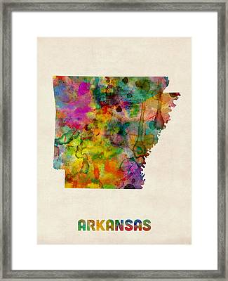 Arkansas Watercolor Map Framed Print by Michael Tompsett
