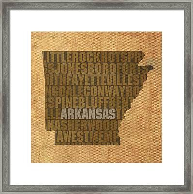 Arkansas Word Art State Map On Canvas Framed Print
