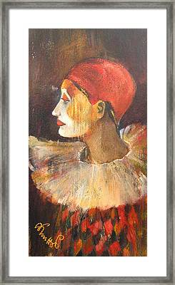 Arlequin In A Red Hat Framed Print by Alicja Coe