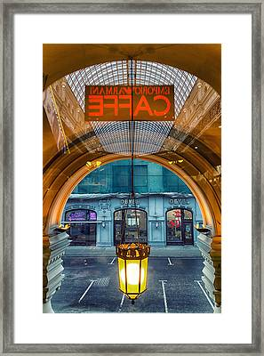 Armani Caffe Reflection Framed Print by Stelios Kleanthous