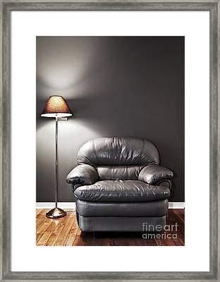 Armchair And Floor Lamp Framed Print by Elena Elisseeva