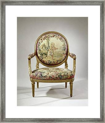 Armchair Upholstered With Tapestry With A Boy With Birds Framed Print