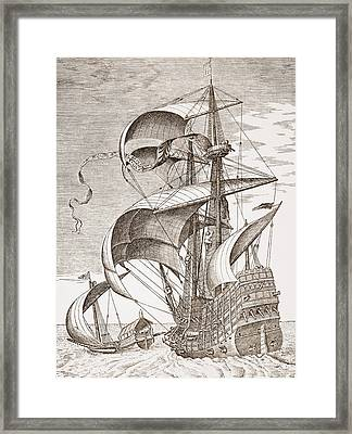Armed Three-master On The Open Sea Framed Print