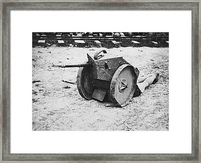 Armored Sniper Post Framed Print by Underwood Archives