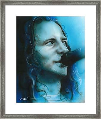Eddie Vedder - ' Arms Raised In A V ' Framed Print by Christian Chapman Art