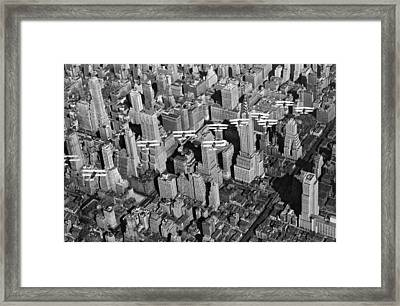 Army Air Corp Over Manhattan Framed Print by Underwood Archives