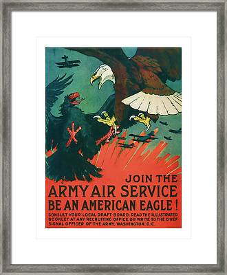 Army Air Service - Vintage Ww1 Art Framed Print