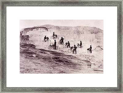 Army Bicyclists Mammoth Hot Springs Framed Print