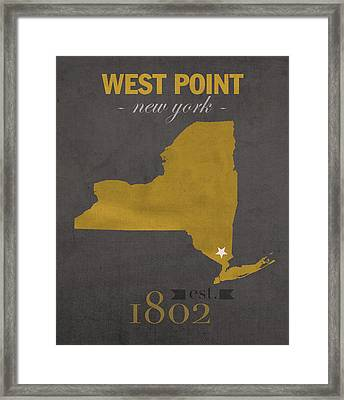 Army Black Knights West Point New York Usma College Town State Map Poster Series No 015 Framed Print by Design Turnpike