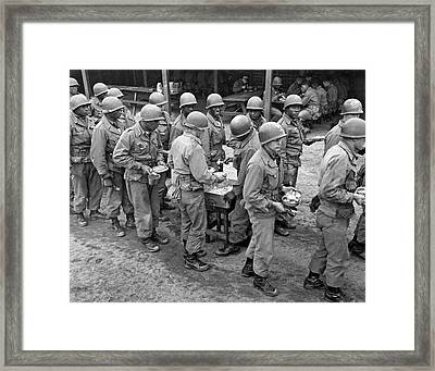 Army Chow Line Framed Print by Underwood Archives