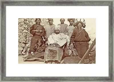 Army Intendant With Some Women, Children And Men In Tibet Framed Print by Artokoloro