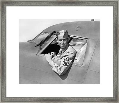Army Pilot Looking Out Window Framed Print