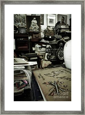 Army Scrapbook In An Antique Shop Framed Print