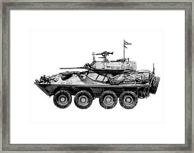 Army Tank Drawing Art Poster Framed Print by Kim Wang