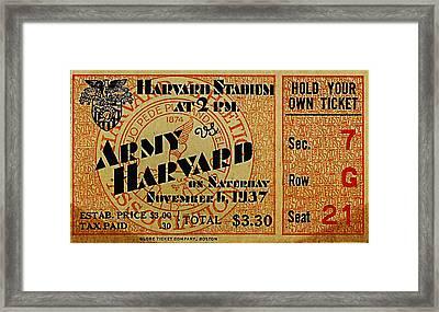 Army Vs Harvard 1937 Ticket Stub Framed Print by Bill Cannon
