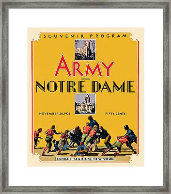 Army Vs Notre Dame 1932 Football Program Framed Print