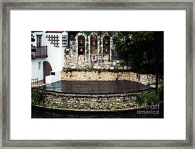 Arneson River Theater Stage On The Riverwalk La Villita San Antonio Texas Watercolor Digital Art Framed Print