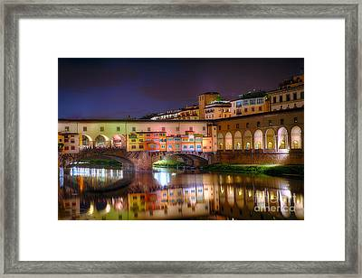 Arno River Night Reflections At Ponte Vecchio Framed Print by George Oze