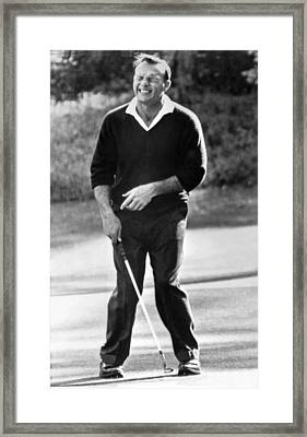 Arnold Palmer Misses A Putt Framed Print by Underwood Archives
