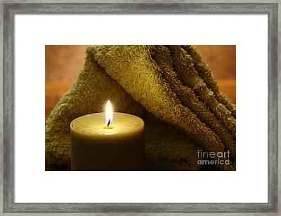 Aromatherapy Candle And Towel Framed Print by Olivier Le Queinec