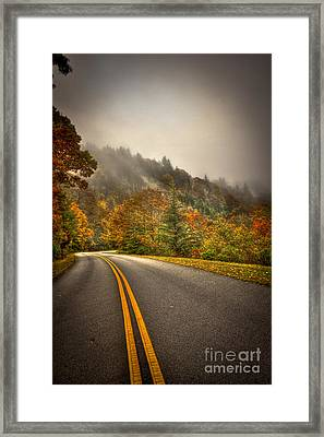 Around The Bend Clouds Along The Blue Ridge Parkway Framed Print by Reid Callaway
