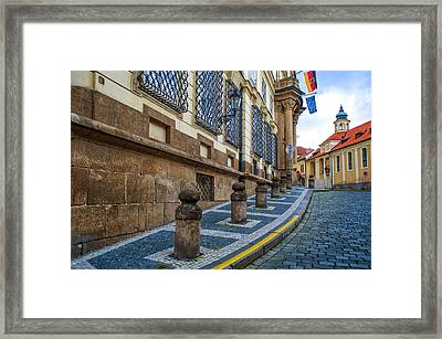 Around The Corner. Old Prague Framed Print by Jenny Rainbow