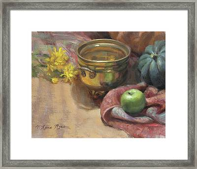 Arrangement In Gold And Green Framed Print by Anna Rose Bain