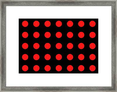 Array Of Red Circles On Black Framed Print by Daniel Hagerman