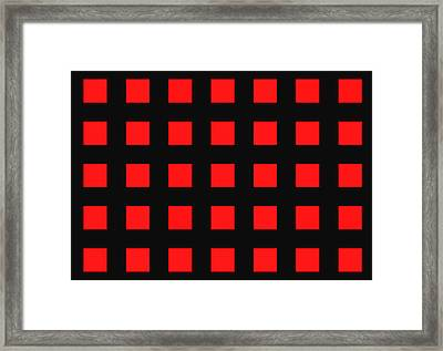 Array Of Red Squares On Black Framed Print by Daniel Hagerman
