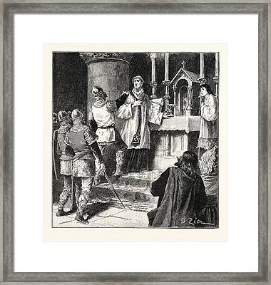 Arrest Of Archbishop Geoffrey In A Monastery At Dover Framed Print by English School