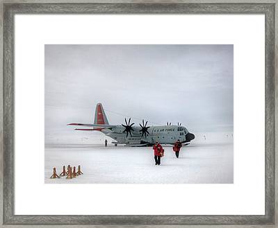 Arrival At South Pole Research Station Framed Print by Nsf/steffen Richter/harvard University