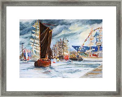 Arrival At The Hanse Sail Rostock Framed Print by Barbara Pommerenke