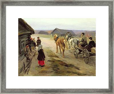 Arrival Of A School-mistress In The Country, C.1908-14 Oil On Canvas Framed Print